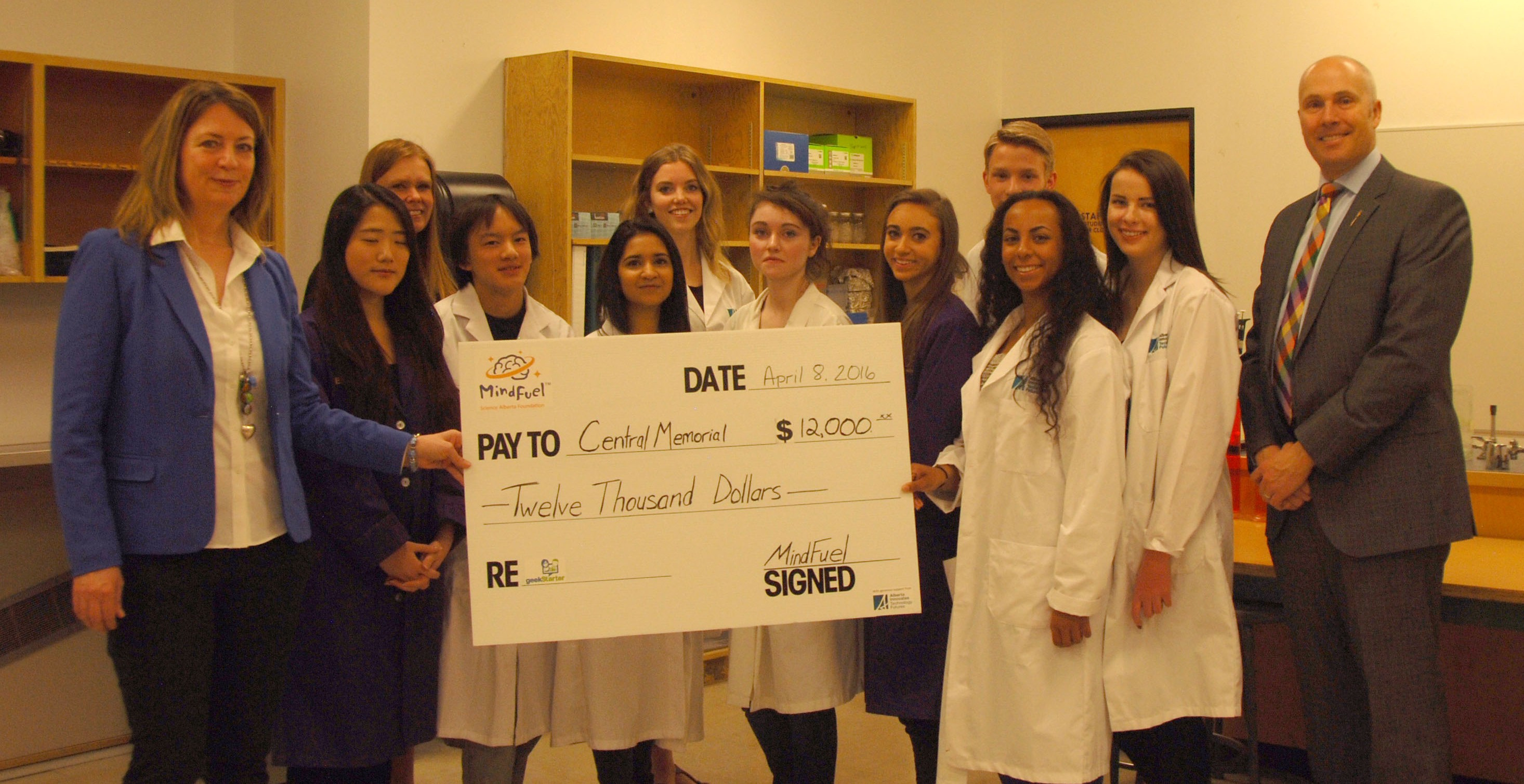 MindFuel presents cheques to Alberta high school teams who are creating amazing innovations
